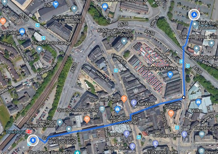 Map of walk from Cliffe Street car park to Railway Station